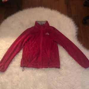 Pink women's fuzzy North Face jacket!